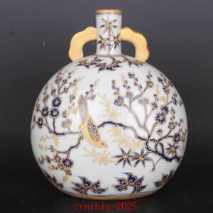 """10.4""""Chinese antique Porcelain ming xuande Blue & white Flowers and birds vase"""
