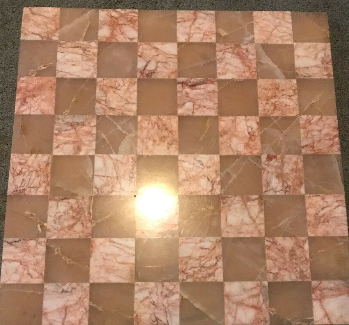 Vintage Pink   Brown Marble Chess Board Set 14x14