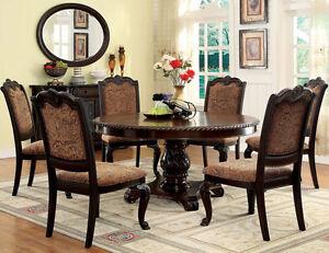 Formal Bradford 7pc Brown Cherry Round Dining Table Set W