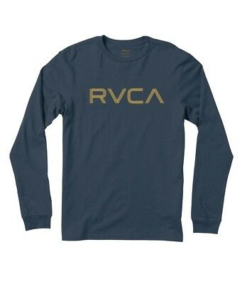 Rvca RVCA LINES Midnight Blue Yellow Screenprint L//S Standard Fit Men/'s T-Shirt