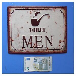 Targa-vintage-034-Toilet-men-034-toilette-bagno-uomini-gabinetto-metallo-cm-25x20