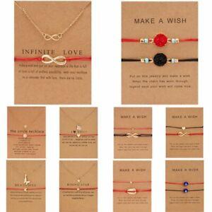 2Pcs-Women-Bracelet-Pendant-Necklace-Wish-Card-Clavicle-Friendship-Jewellery-New