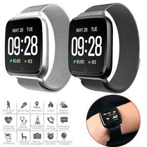 863c1c19d13ae Image is loading Bluetooth-Smart-Watch-Heart-Rate-Monitor-Stainless-Steel-