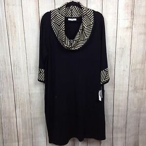 Details about Studio One 2X Plus Women s Sweater Dress Cowl Neck Black Gold  Casual 3 4 Sleeve 962ef15b0