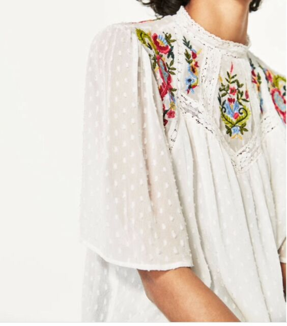 NWT $70 Zara High Neck Lace Embroidered Peasant Blouse Sz XS Ivory Boho
