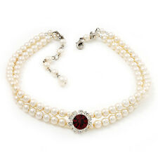 2 Strand Light Cream Imitation Pearl CZ Wedding Choker Necklace (With Ruby Red C