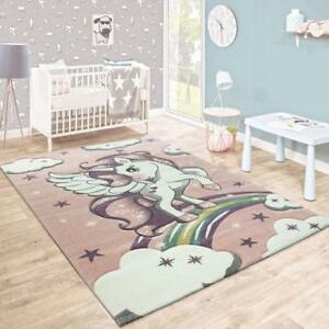 Details About Childrens Animal Rug Pink And White Kids Unicorn Carpet Small Large Baby Bedroom