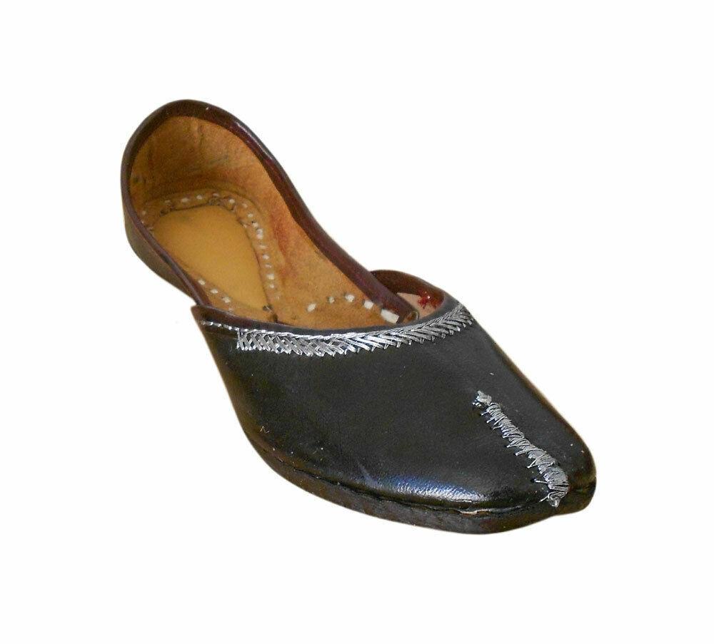 Women shoes Indian Handmade Traditional Black Ballerinas Mojaries UK 4 EU 37