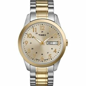 Timex-TW2P67400-Easy-Reader-Men-039-s-2-Tone-Expansion-Watch-Indiglo-Day-Date