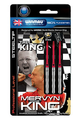 MERVYN KING WINMAU 90% TUNGSTEN DARTS SET, Silver 22-26 gram