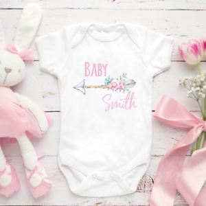 Personalised-Girl-Baby-Clothing-Vest-Babygrow-Baby-Shower-Gift-Any-Surname