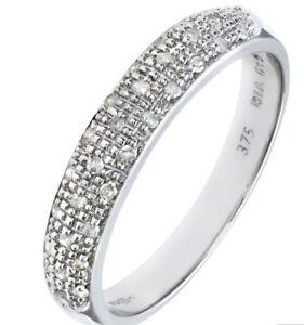 Senoras-oro-blanco-9-CT-100-Natural-Diamond-Medio-Anillo-Tamano-S-Libre-Post-etenity