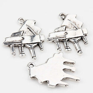 10/20Pcs Tibetan Silver Piano Carving Charms Pendants For Jewelry Making 20x17mm
