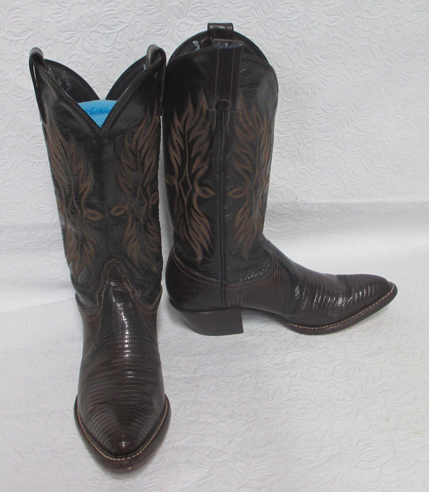 Women's Tony Lama Brown Exotic Lizard Skin & Leather Cowboy Boots 8413 Sz 5 M