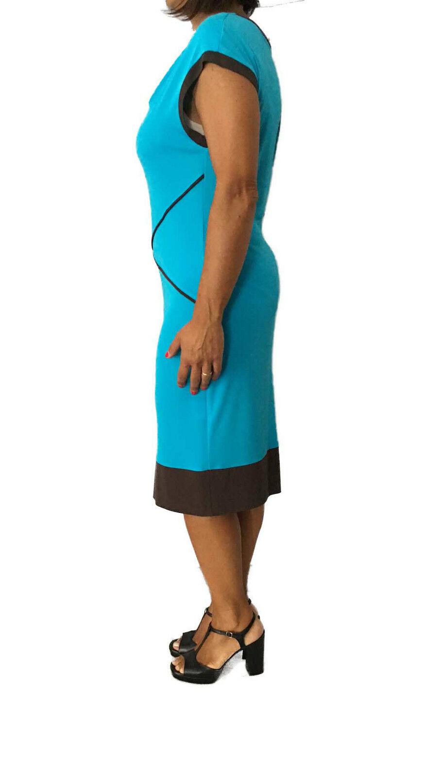 CALALUNA women's dress turquoise with profiles dark dark dark brown 72% viscose f2788b