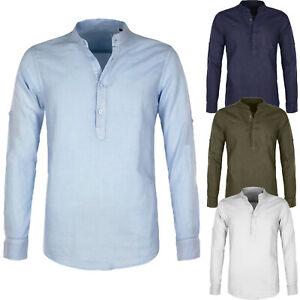 Camicia-Uomo-Di-Lino-Casual-Slim-Fit-Manica-Lunga-Collo-Serafino-3-Bottoni-Veque