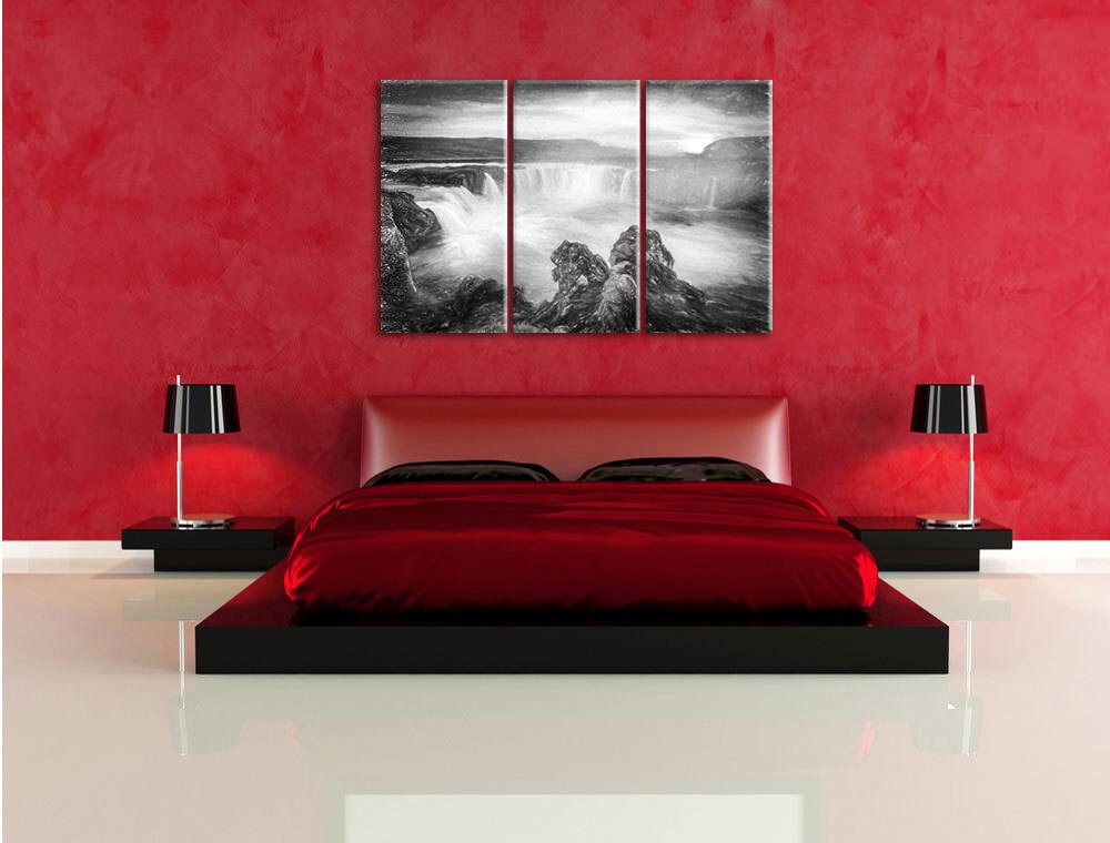 Cataratas Puesta en la Puesta Cataratas Del Sol 3-Teiler Foto en Lienzo Decoración de Pa rojo  a422ba