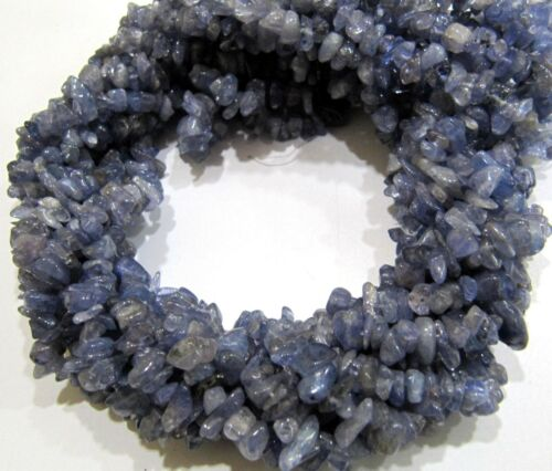 Natural Tanzanite Gravel Uncut Nugget 5mm To 8mm Beads chip Strand 35 Inches .