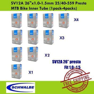"1pack-4packs Schwalbe SV12A 26/""x1.0-1.5mm 25//40-559 Presta MTB Bike Inner Tube"