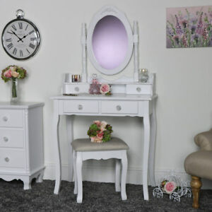 White Dressing Table Set Mirror Stool Shabby French Chic Bedroom ...