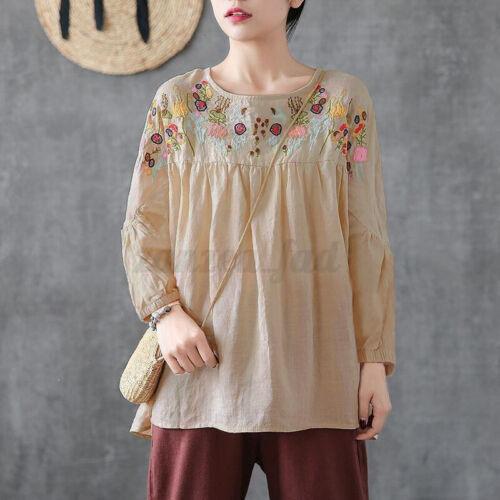 ZANZEA Damen Embroidered Longsleeve Tops Floral Freizeit Lose Shirt Bluse Plus
