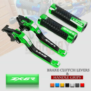 Folding-Brake-Clutch-Levers-amp-Handle-Grips-for-KAWASAKI-NINJA-ZX6R-636-07-18