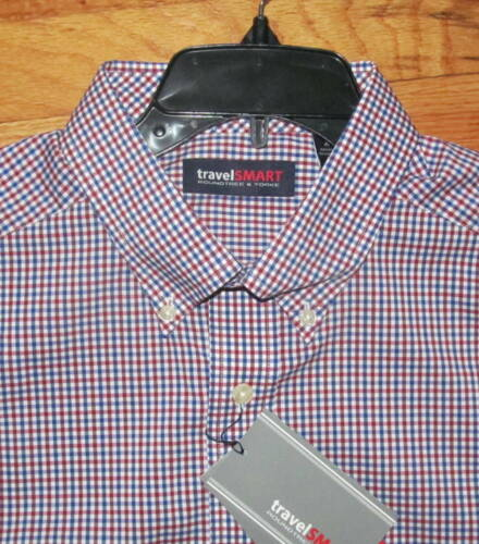 Roundtree LS Red White Blue Plaid Travel Smart Shirt 3X B 4XLT NWT