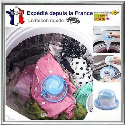 Bleu Neuf Filtre Attrape Poils Anti Peluches Boule Flottante Machine à Laver