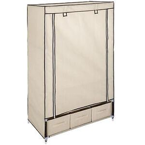 armoire de rangement penderie dressing en tissu textile pliable 3 tiroirs beige ebay. Black Bedroom Furniture Sets. Home Design Ideas