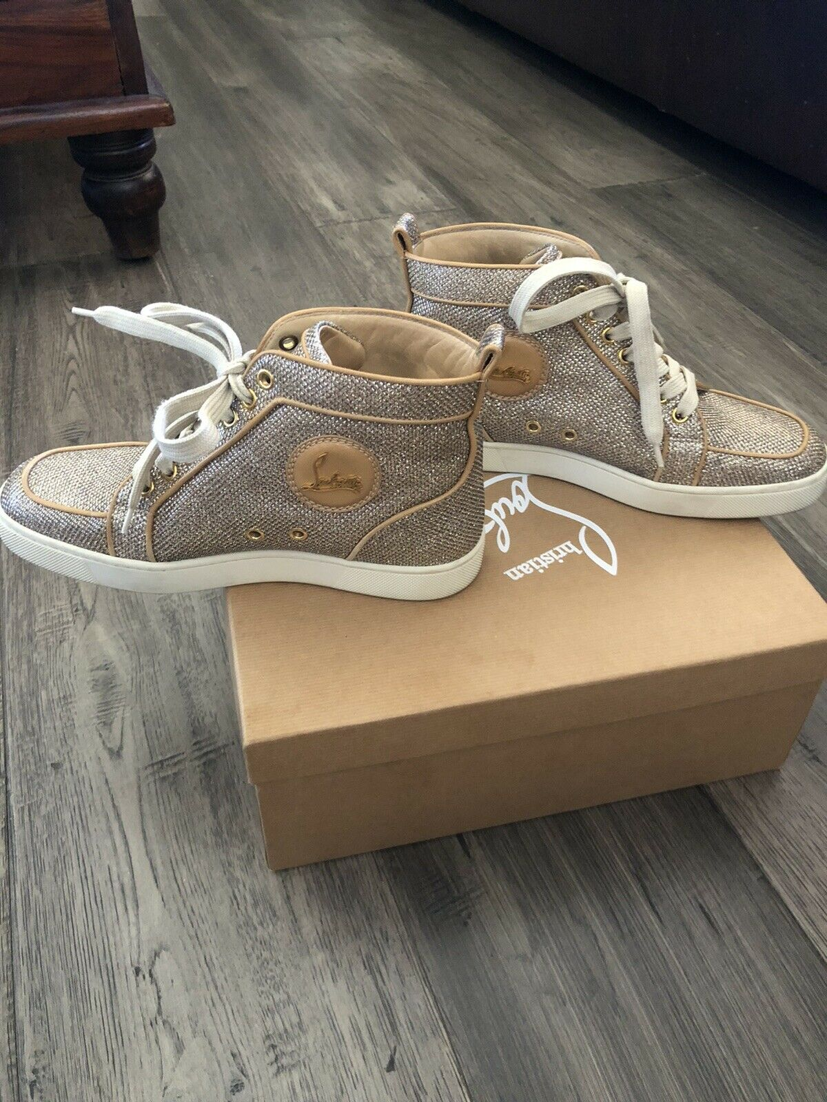 Christian Louboutin Women's Rantus Orlato Glitter Sneakers Gold Beige Size 38