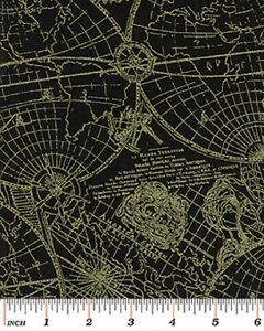 Fat quarter new world map black gold cotton quilting fabric image is loading fat quarter new world map black gold cotton gumiabroncs Gallery