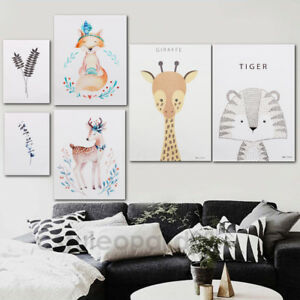 Image Is Loading Modern Nordic Animal Plant Leaf Canvas Art Poster