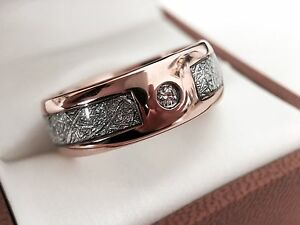 57faf8860936b Details about Meteorite Ring Rose Gold Wedding Band White Diamond Promise  Rings Men Women Ring