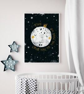 Love You To The Moon and Back Nursery Art / Picture Print / Bedroom ...