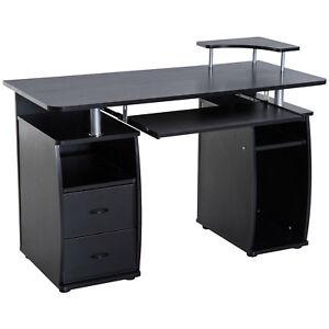 HOMCOM Wood Work Table Computer Desk Laptop Workstation Office Black