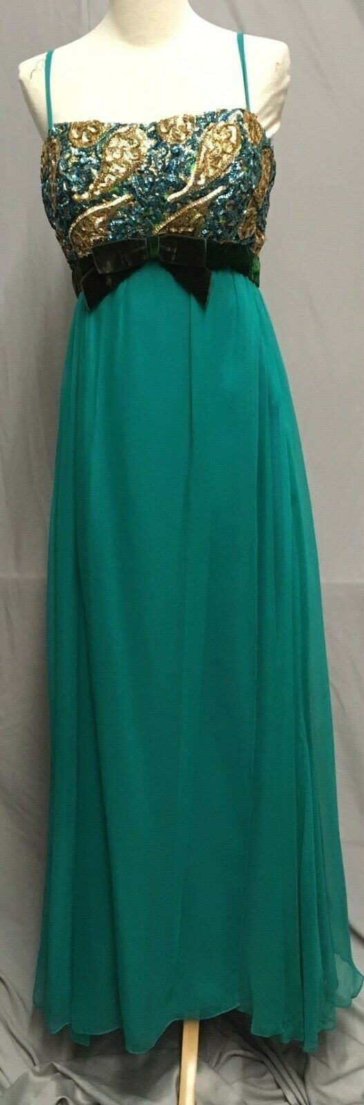 #20-168, 1950's To Early 1960's Sequin & Silk Chiffon Evening Dress
