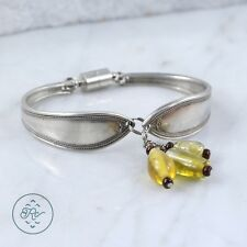 "Vintage Sterling Silver | Glass Bead Dangle SPOON Panel 33.4g | Bracelet (6.5"")"