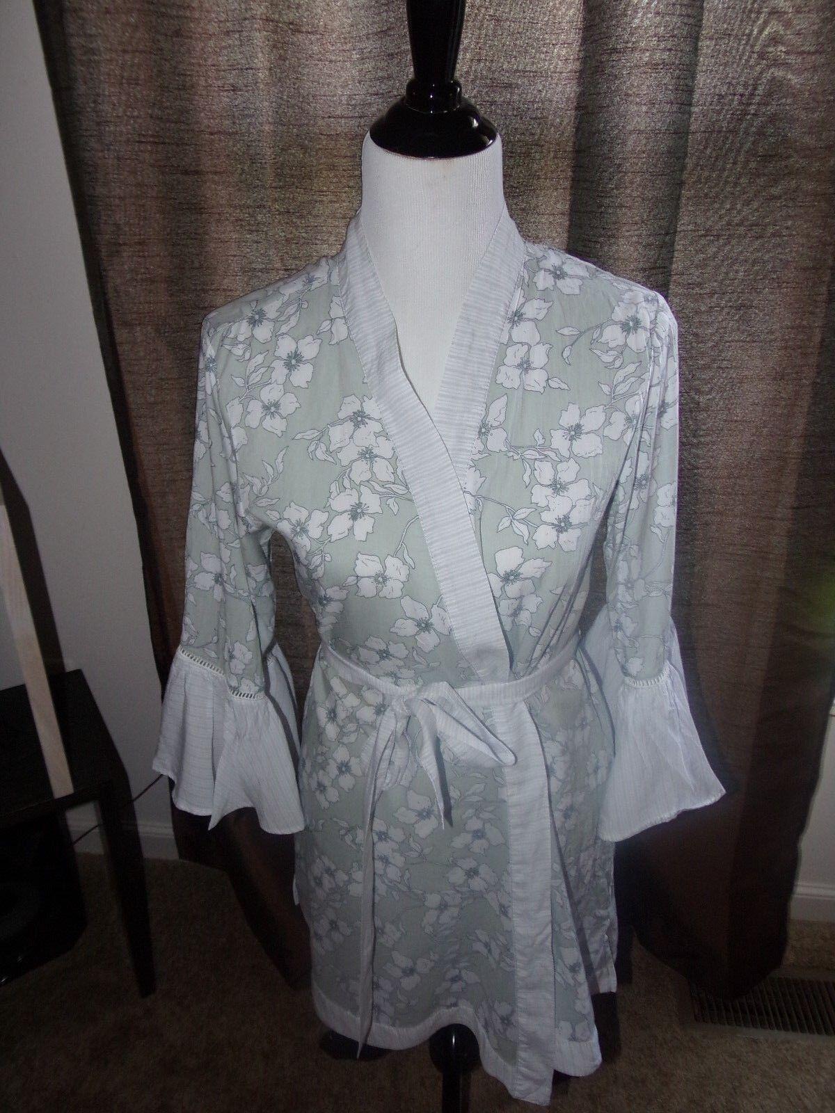 ENC Gilligan O'Malley Small Grey White Cotton Sleep Robe