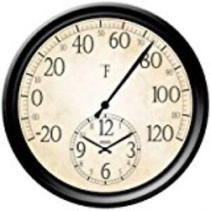 Springfield Precision InstrumentsDec<wbr/>orative 14-Inch Patio Thermometer with Clock
