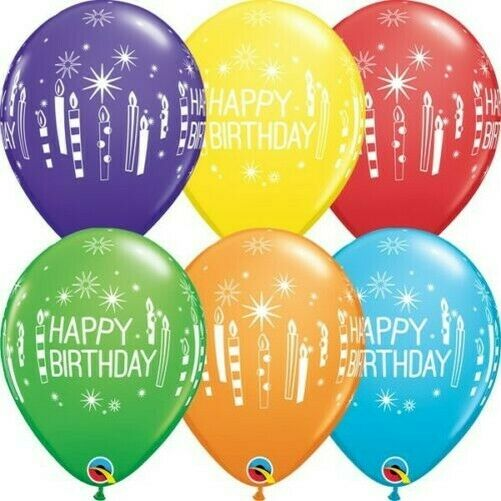 Birthday Candles & Starbursts Bright Rainbow Assorted 11 Inch Qualatex Balloons