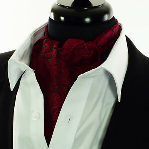 Black Red Paisley Silk Cravat Scarves Ascot Tie Floral Scarf A13   eBay 0b50f070df8