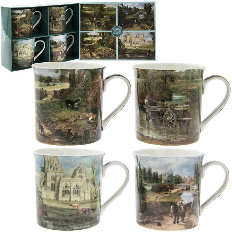 4er Set John Constable Scenic Land Porzellanbecher Präsentations- Geschenkbox