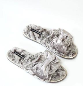 Pretty You Elegant Women Gray Slippers Slip-on Velvet Bow Direct from London