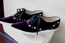 Marc Jacobs Italy Dark Purple Velvet Women Shoes Lace Up Flats Size:38