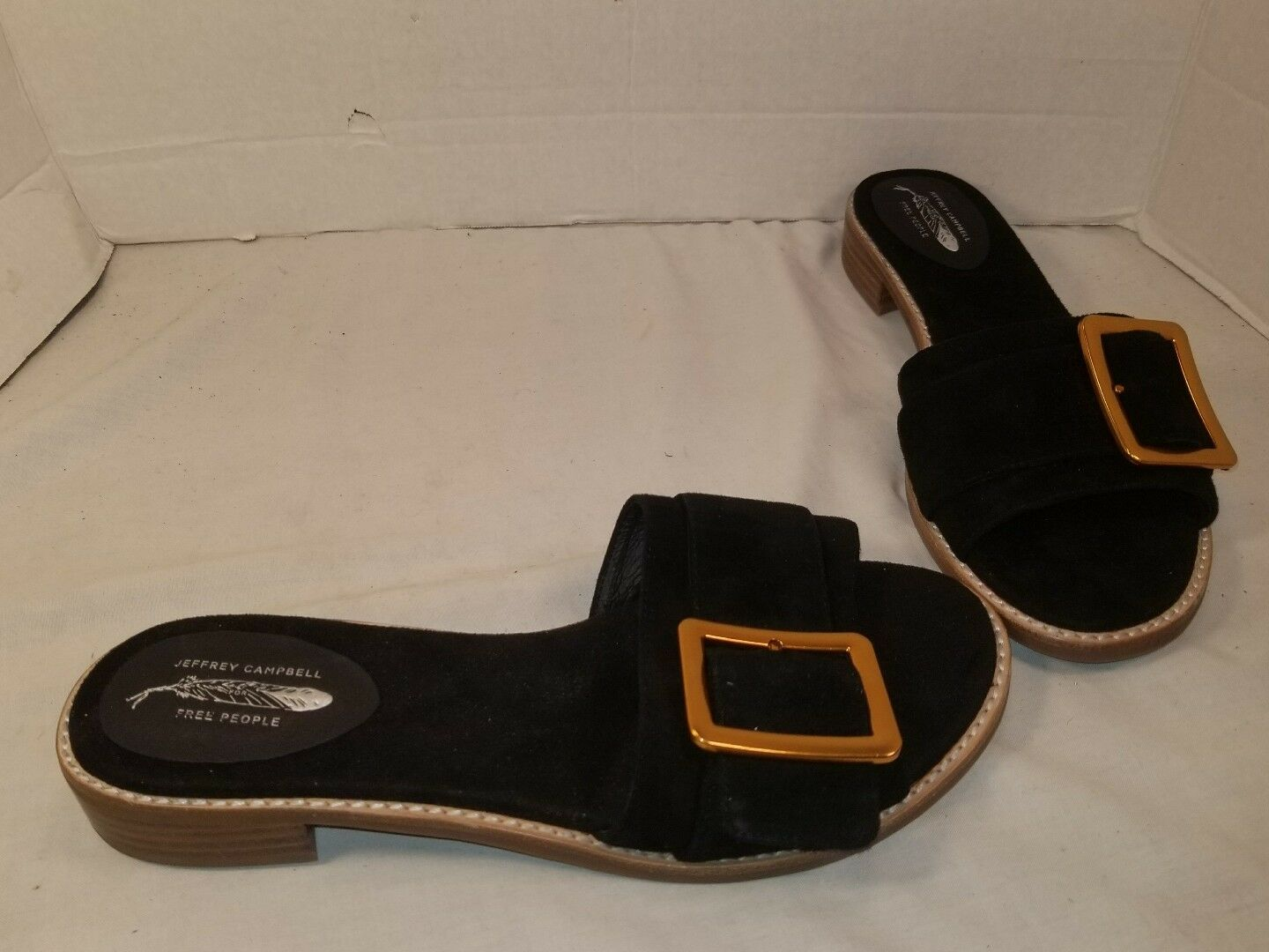 NEW FREE PEOPLE X JEFFREY CAMPBELL DREW BLACK SUEDE SLIDE SANDALS US 10