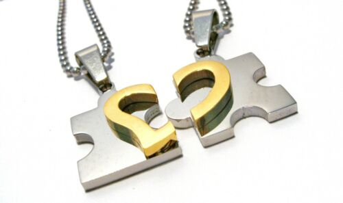Cadena de socios acero inoxidable puzzle corazón 2 colgantes de plata-oro con cadenas de acero inoxidable