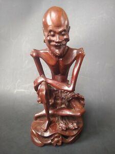 Vintage Chinese Emaciated Carved Wood Statue Skinny Lohan Rare Arhat Ebay