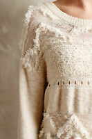 Anthropologie Crewneck Long Sleeved Ivory Sweater By: Moth Size M