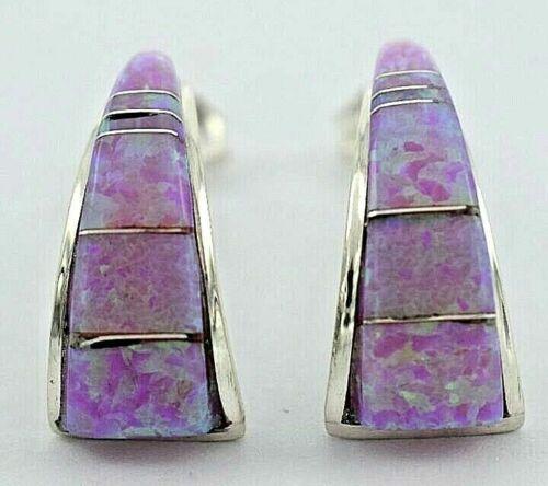 Zuni Handmade Sterling Silver Pink Opal Inlay Earrings by Dena Lonjose