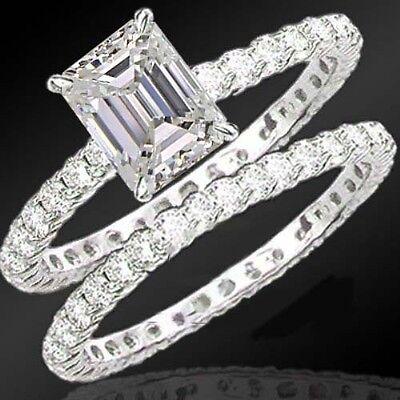 3.04 Carat Emerald Cut Diamond All Around Engagement Ring Bridal Set F SI2 DGS